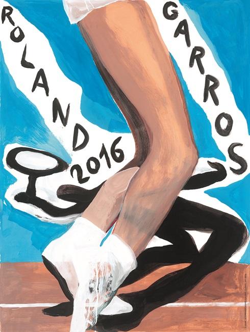 '그림자'에 중점을 둔 2016 프랑스오픈 포스터